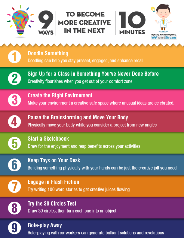 9 ways to become more creative in the next 10 minutes. on pinterest.