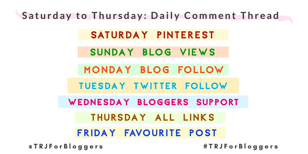 TRJ For Bloggers Schedule on Twitter
